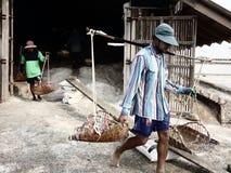 Salta bönder Phetchaburi Thailand Fotografering för Bildbyråer