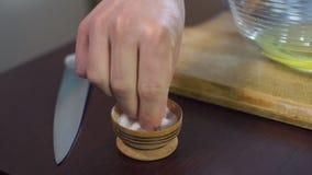 Salta kocktagande att salta maträtten Matingrediens Stekhet ingrediens Razzia av salt stock video