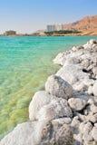 Salta kuster på det döda havet i Israel. Fotografering för Bildbyråer