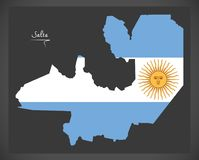 Salta map of Argentina with Argentinian national flag illustrati. Salta map of Argentina with Argentinian national flag Royalty Free Stock Photography