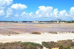 Salta miner av marsalan - Sicilien Arkivfoton