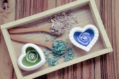 Salta och aromatiska stearinljus Royaltyfri Foto