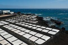 Salta pannor av Fuencaliente, nära Teneguia det volcan området, den LaPalma ön Royaltyfri Bild