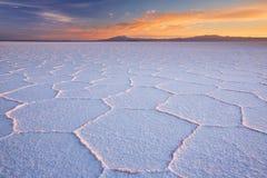 Salta plana Salar de Uyuni i Bolivia på soluppgång Arkivbild