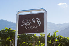 Salta sign road, Route of the wine with vineyards. Argentina. Welcome sign road on the Salta Ruta Del Vino written in Spanish or Route of the Wine with vineyards royalty free stock image