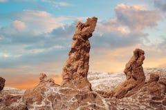 Salta skulpturer är härligt geologiskt bildande av månedalen Arkivfoto