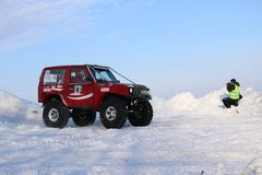 Free SALTAC-KOREM, RUSSIA-FEBRUARY 11, 2018: Winter Auto Show Jeeps - Ice Kneading 2018.driving Modified Jeep Off-road - Monster Truck Stock Photography - 110502342