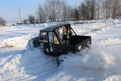 Free SALTAC-KOREM, RUSSIA-FEBRUARY 11, 2018: Winter Auto Show Jeeps - Ice Kneading 2018.driving Modified Jeep Off-road - Monster Truck Stock Photos - 110658483