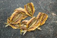 saltad torkad fisk Arkivbilder