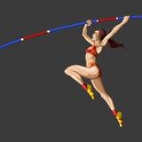 Saltador de sexo femenino de Athelete poste Foto de archivo libre de regalías