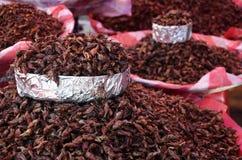 Saltamontes fritos en un mercado en Oaxaca foto de archivo