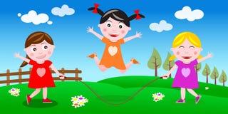 Saltando a bandeira da corda Fotografia de Stock