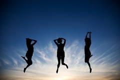 Saltando con la gioia Immagini Stock Libere da Diritti