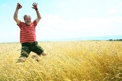 Saltando con la gioia Fotografia Stock