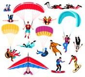 Saltando em queda livre os esportes extremos de Amd ajustados ilustração stock
