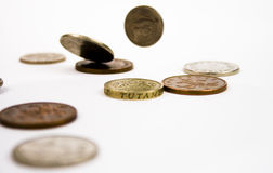 Saltando moedas Imagem de Stock Royalty Free