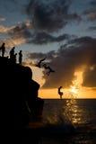 Saltando nella baia di Waimea Immagine Stock
