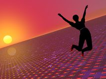 Saltando per la gioia Fotografia Stock Libera da Diritti