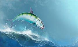 Saltar do Bonefish das ondas contra o contexto do oceano ilustração stock