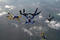 Saltar en caída libre al grupo Fotografía de archivo