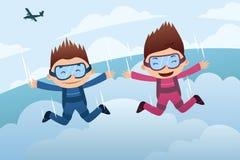 Saltar en caída libre pares Foto de archivo