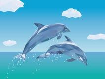 Saltare basso di due poli delfini dell'oceano Fotografia Stock