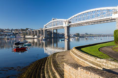 Saltash Passage Plymouth Devon. Royal Albert Bridge designed by Isambard Kingdom Brunel as seen from Saltash Passage Plymouth Devon England UK Europe Royalty Free Stock Photography