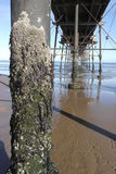 Saltburn Pier. Detailed underpart of the steel structure of Saltburn Pier, highlighting use of steel, structure and texture Stock Images