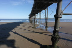 Saltburn Pier #5. Detailed underpart of the steel structure of Saltburn Pier, highlighting use of steel, structure and texture Stock Image