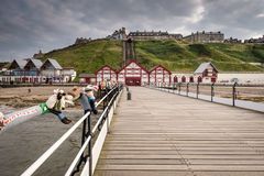 Saltburn Pier and town beyond Stock Images