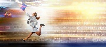 Salte às tecnologias futuras Imagens de Stock