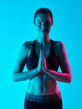 Salte del namaste del retrato del zen de la yoga de la mujer Foto de archivo