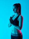 Salte del namaste del retrato del zen de la yoga de la mujer Fotos de archivo libres de regalías