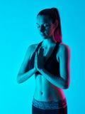 Salte del namaste del ritratto di zen di yoga della donna Fotografie Stock Libere da Diritti