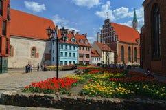 Salte em Letónia, cidade Riga, área da cidade velha 2016 anos Imagem de Stock