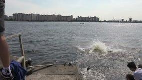 Salte en la bici en el agua 4K almacen de video