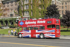 Salte en salto del autobús en Victoria, isla de Vancouver, Canadá Imagen de archivo