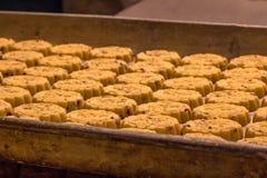 Salte las galletas apenas cocidas en una bandeja del horno imagenes de archivo