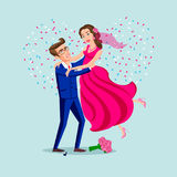 Salte a união dos pares felizes isolados em confetes do fundo do coração Homem atrativo e mulher que são brincalhão Vetor ilustração stock