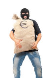 Salteador feliz com o saco cheio do euro Imagem de Stock Royalty Free