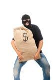 Salteador feliz com o saco cheio dos dólares Fotos de Stock