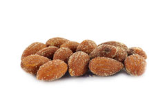 Salted almonds isolated on white. Background Royalty Free Stock Photography