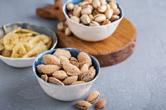 Salted almonds and pistachios in a shell Royalty Free Stock Photography