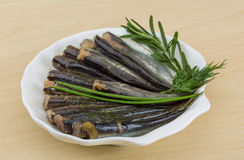 Salted anchovy. With spices and herbs - ready for eat Stock Image
