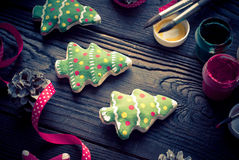 Salted biscuits painted colors. Handmade Christmas decorations. Salted biscuits painted colors. Image tinted Royalty Free Stock Photos