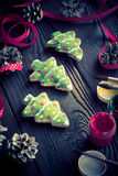 Salted biscuits painted colors. Handmade Christmas decorations. Salted biscuits painted colors. Image tinted Stock Images