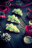 Salted biscuits painted colors. Handmade Christmas decorations. Salted biscuits painted colors. Image tinted. Selective focus Royalty Free Stock Image