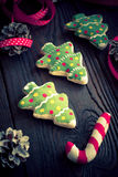 Salted biscuits painted colors. Handmade Christmas decorations. Salted biscuits painted colors. Image tinted. Selective focus Stock Image
