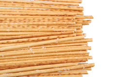 Salted breadsticks isolated on white Stock Photos