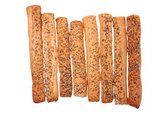Salted Breadsticks With Poppy Seeds Stock Image